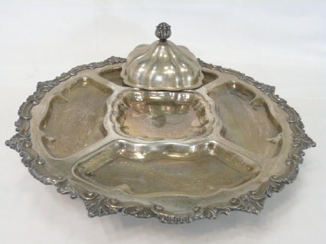 Large Silverplate Sectioned Rotating Serving Dish - 4