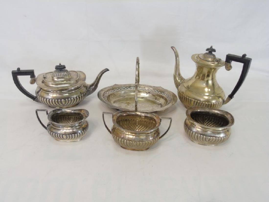 Silverplate Sheffield Tea Service (5), and Basket