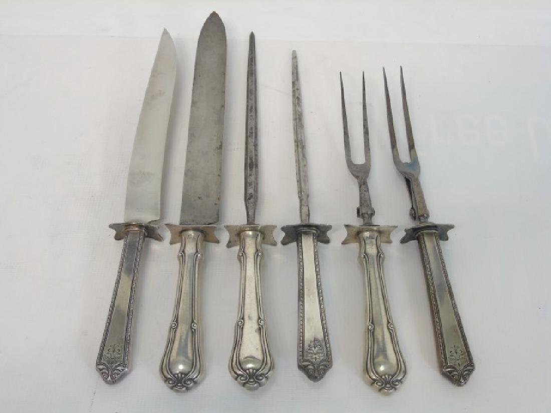 Six Piece Antique Sterling & Silver Carving Set