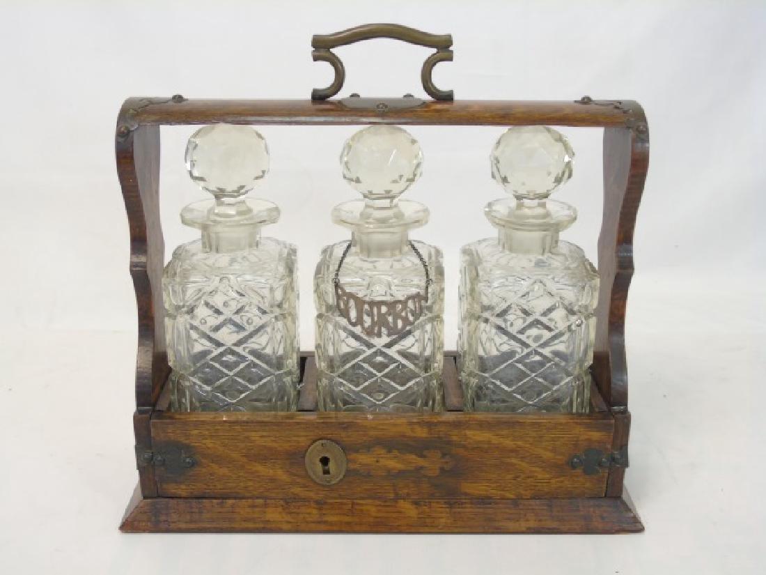Antique English Oak Tantalus w 3 Crystal Decanters