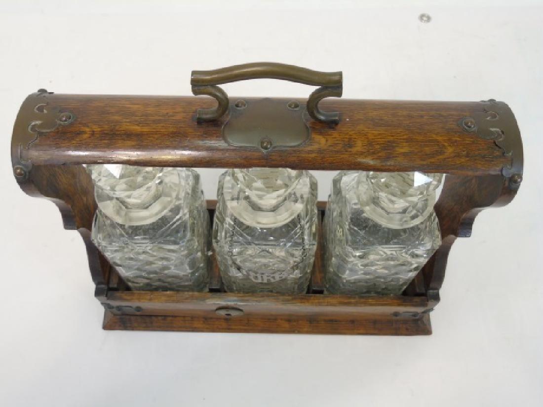 Antique English Oak Tantalus w 3 Crystal Decanters - 2