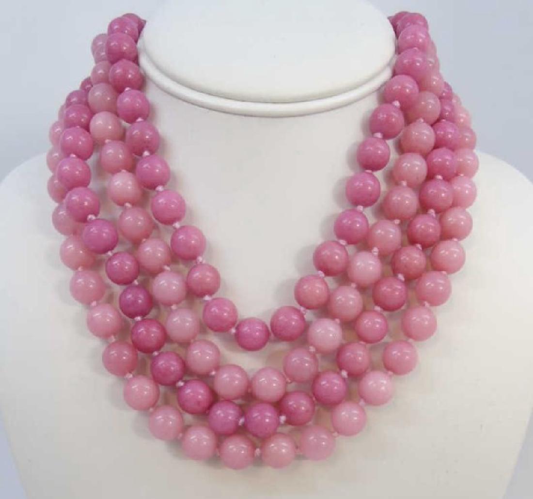 Four Pink Jade & Hardstone Necklace Strands