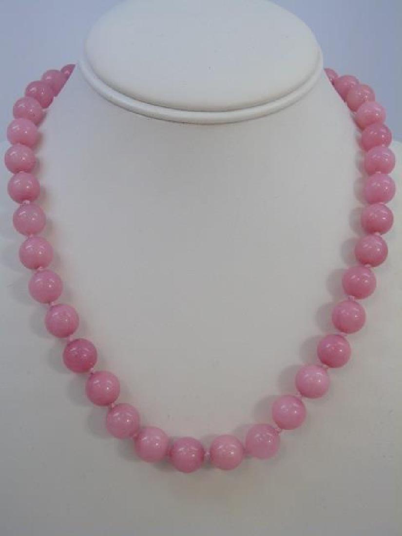 Four Pink Jade & Hardstone Necklace Strands - 3