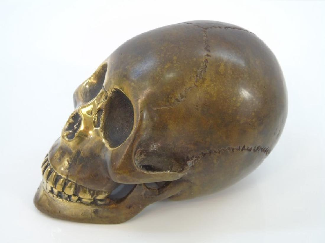 Bronze Table Statue of a Human Skull