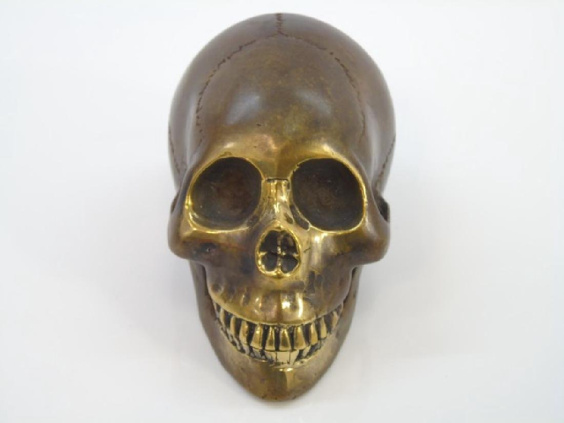Bronze Table Statue of a Human Skull - 3