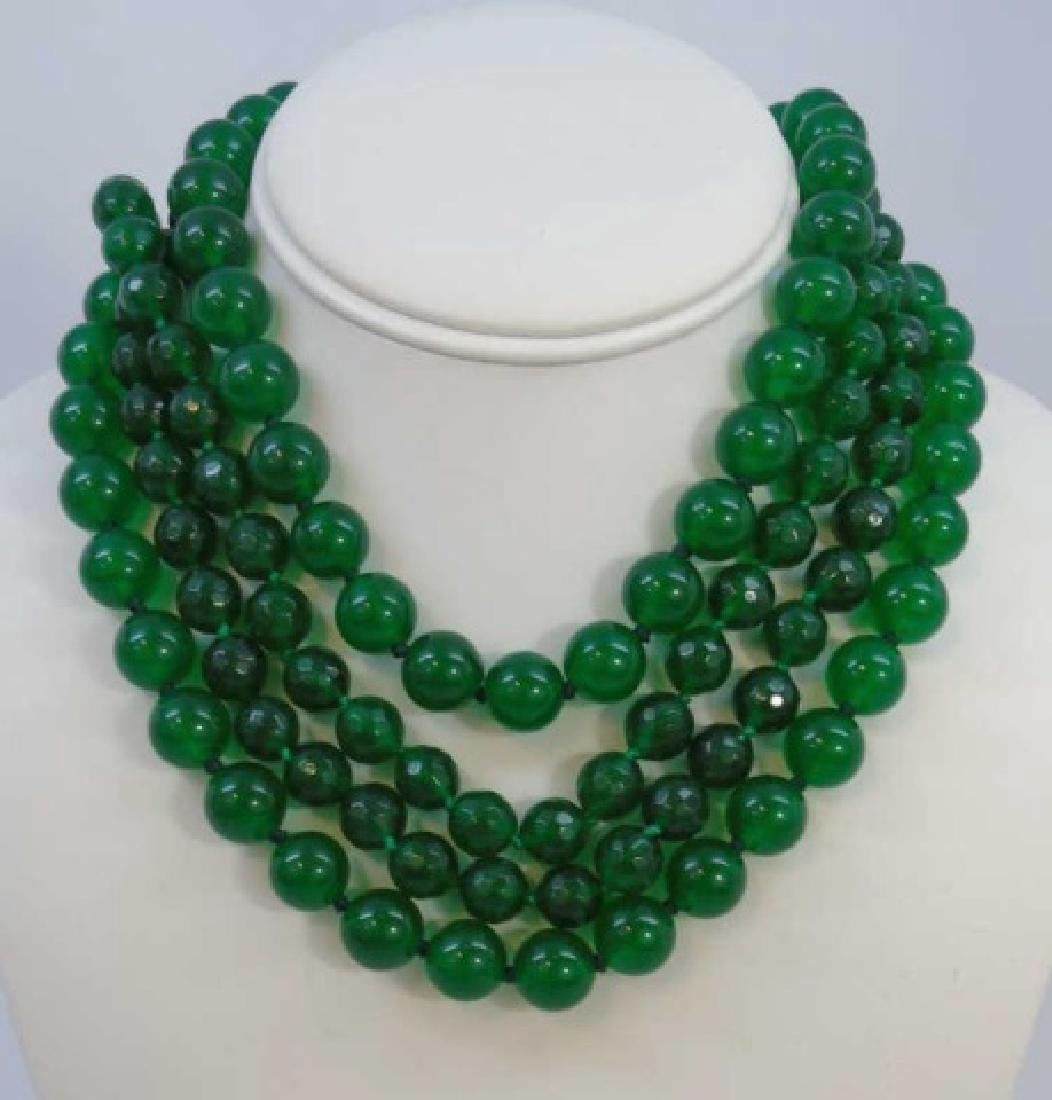 Four Chinese Hand Knotted Green Jade Necklaces