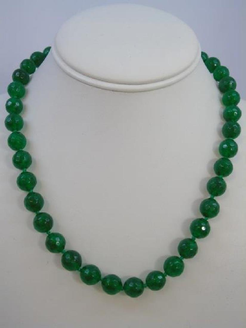 Four Chinese Hand Knotted Green Jade Necklaces - 2