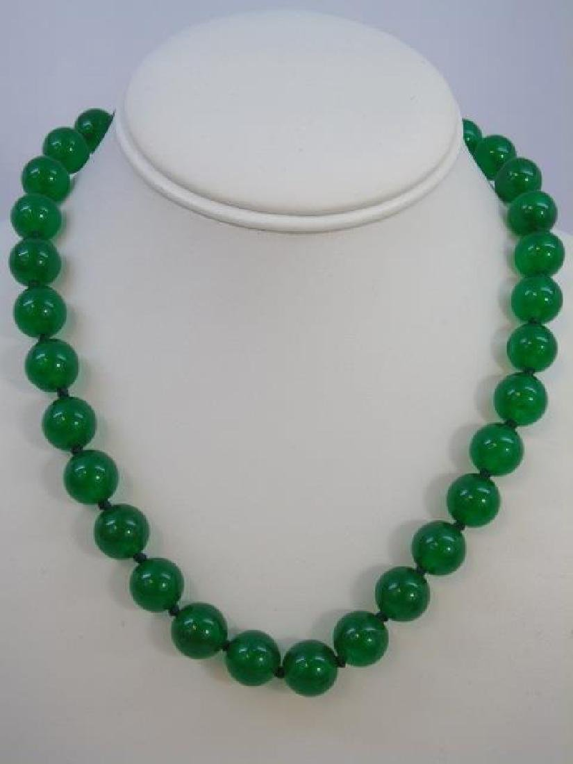 Four Chinese Hand Knotted Green Jade Necklaces - 3