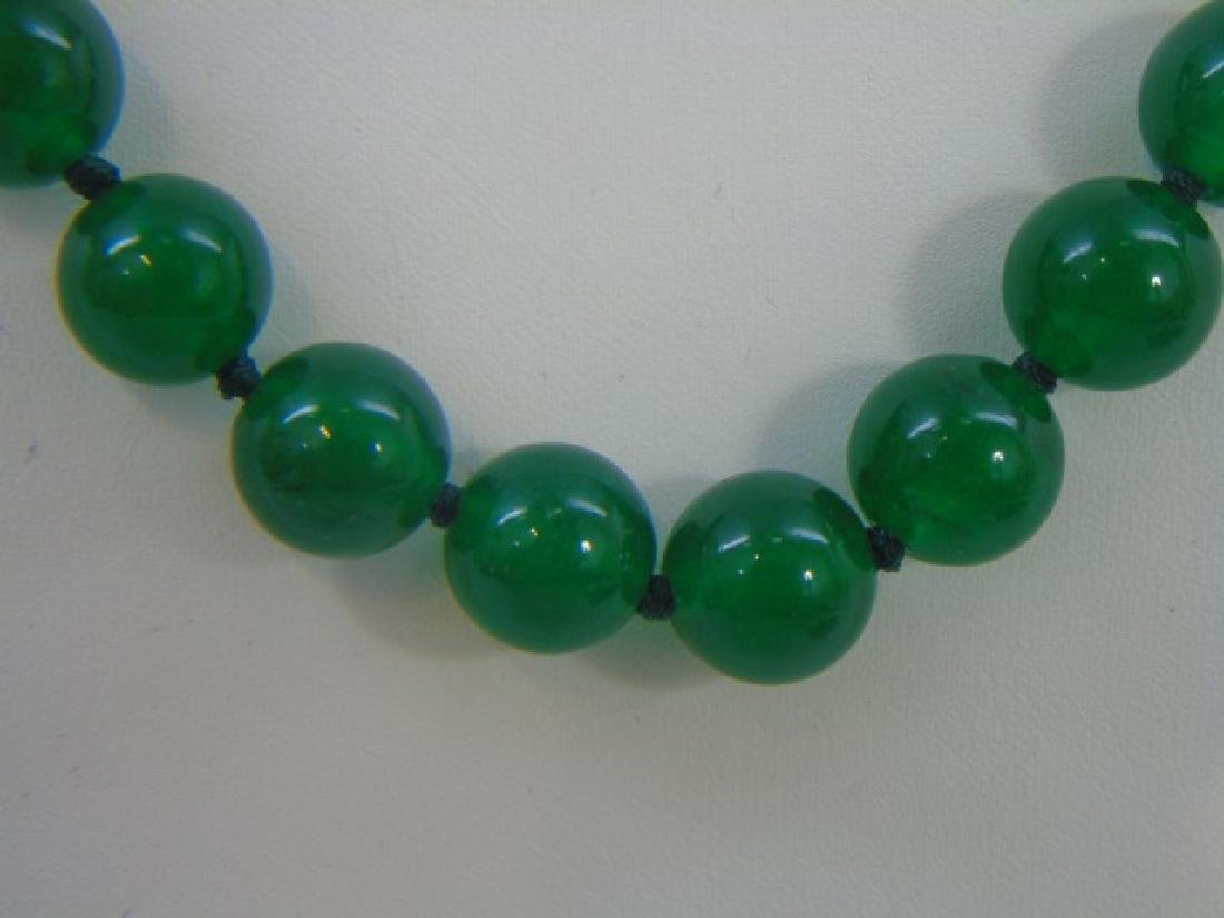 Four Chinese Hand Knotted Green Jade Necklaces - 4