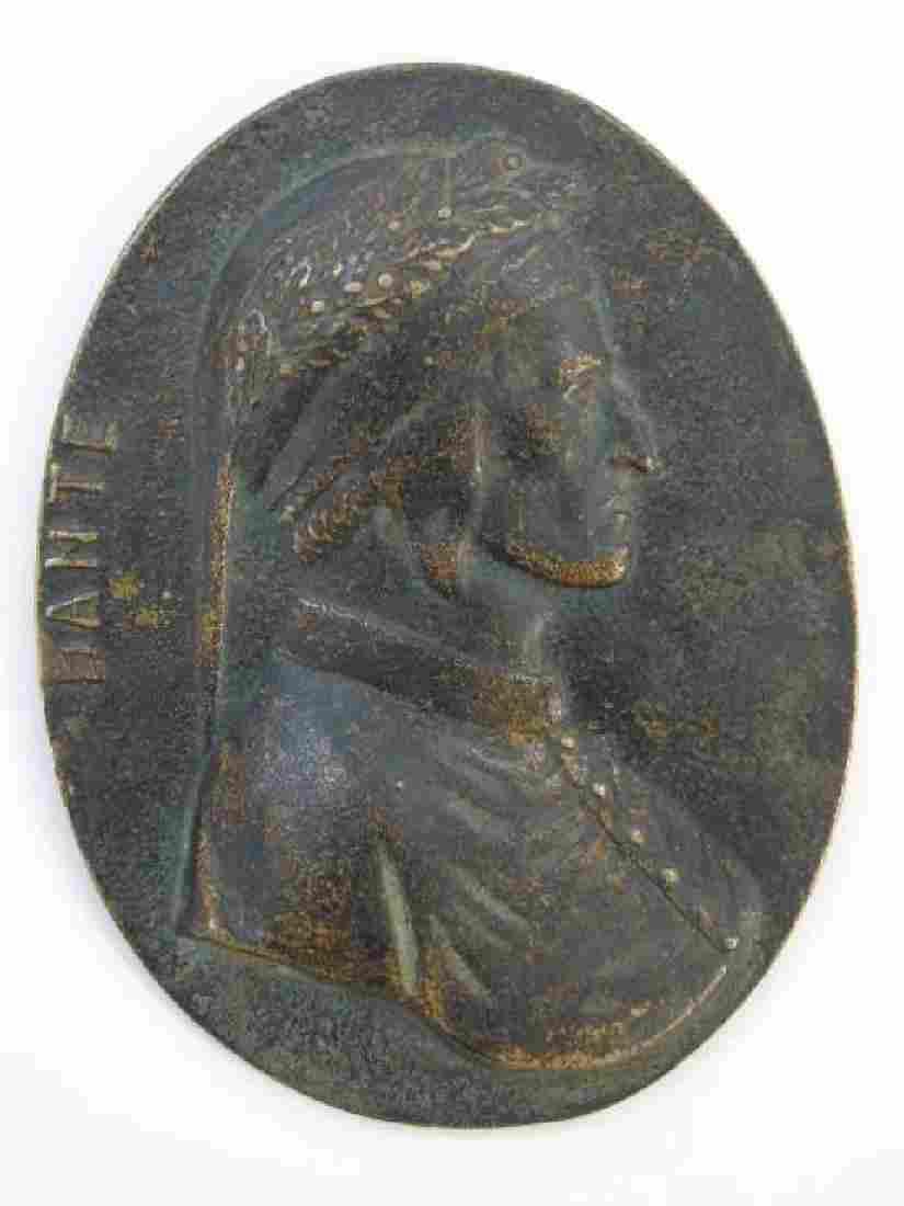 Antique Oval Grand Tour Bronze Plaque of Dante