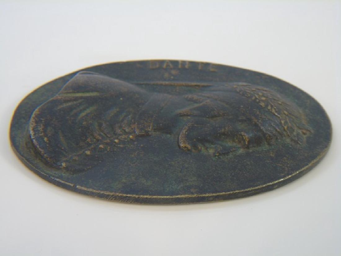 Antique Oval Grand Tour Bronze Plaque of Dante - 3