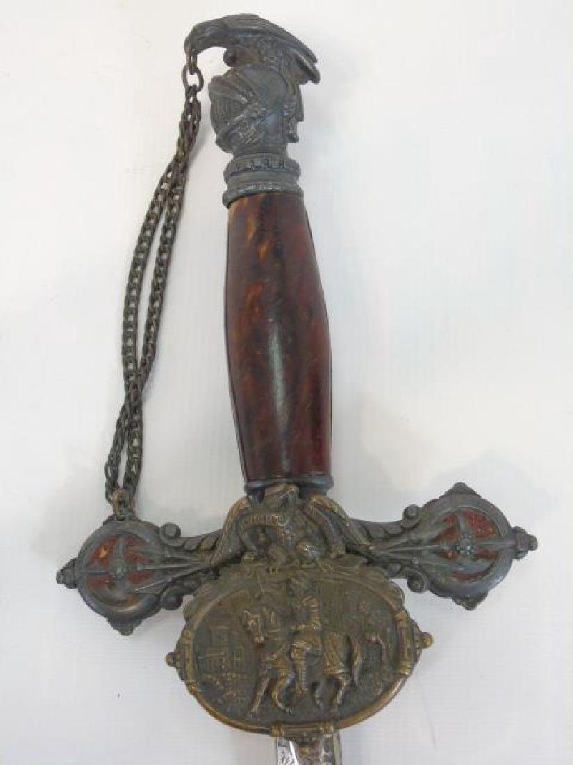 Antique Masonic Knight in Armor Motif Sword - 4