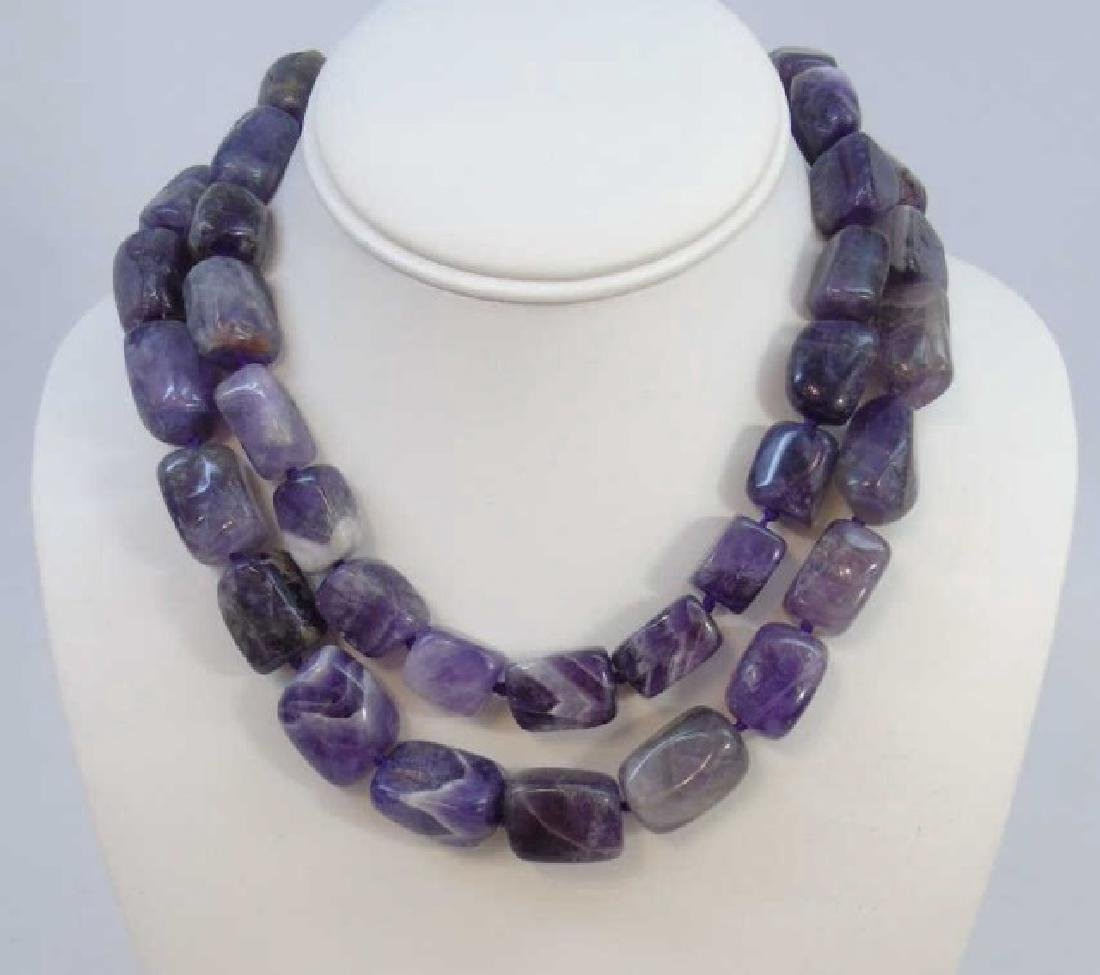 Pair Contemporary Tumbled Amethyst Necklace Strand