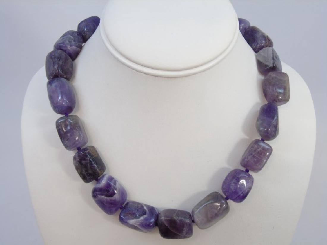 Pair Contemporary Tumbled Amethyst Necklace Strand - 3