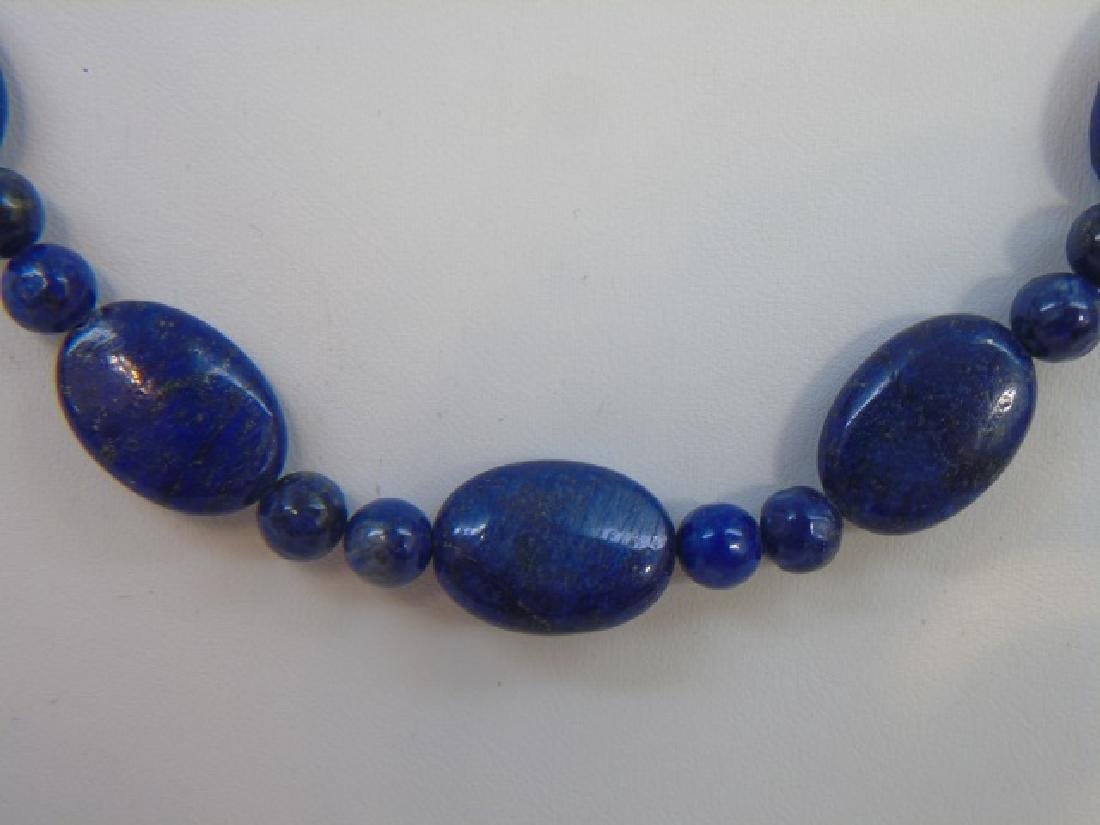 Pair Carved Lapis Lazuli Bead Necklace Strands - 4