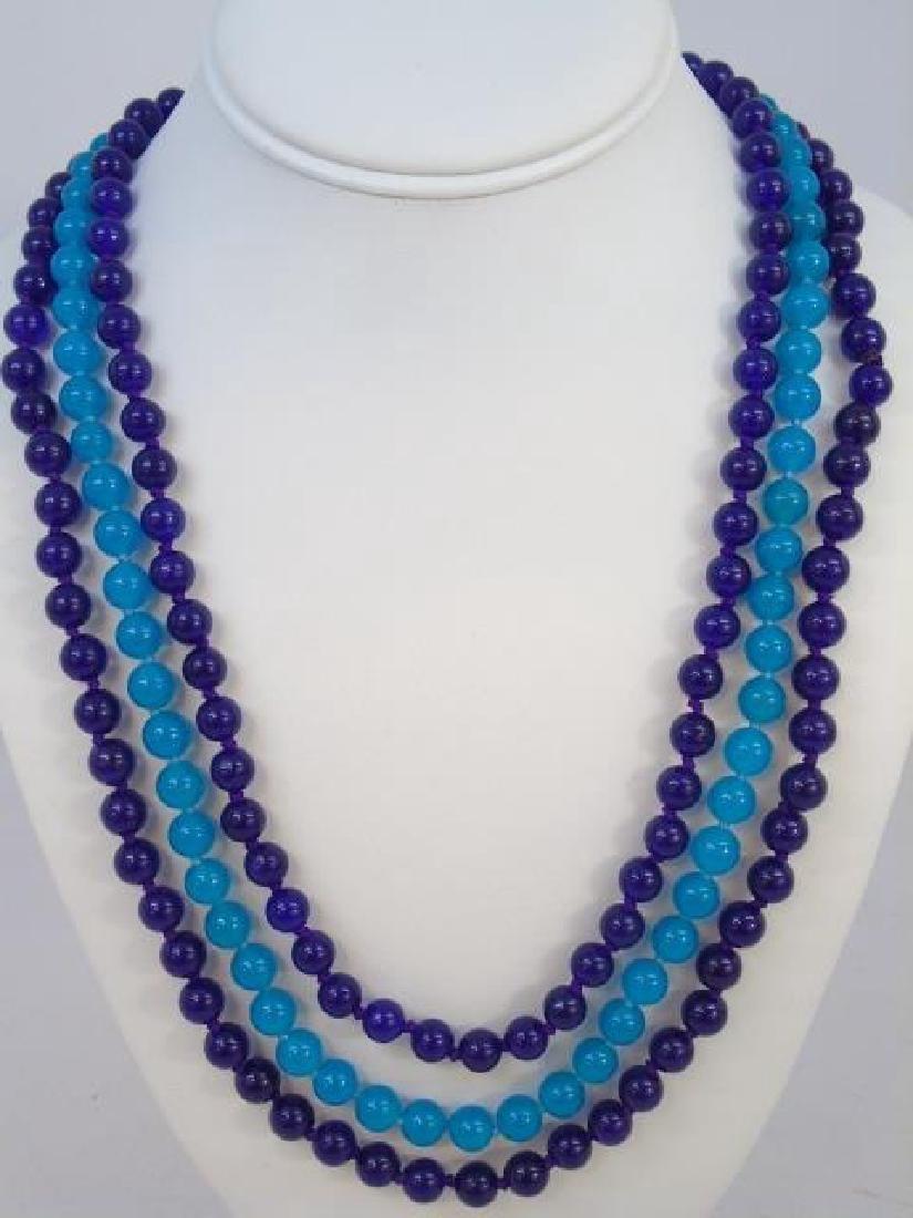 Three 34 Inch Tourmaline & Topaz Necklace Strands - 2