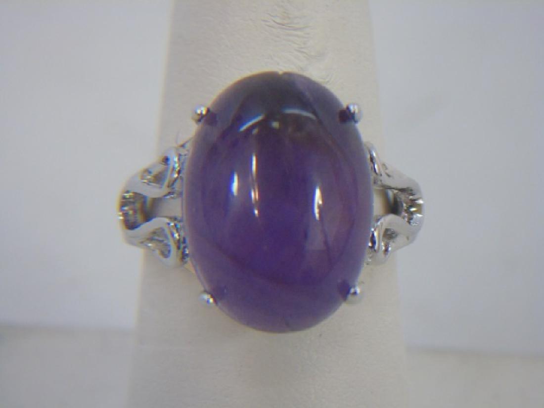 Sterling Silver & Cabochon Cut Amethyst Ring