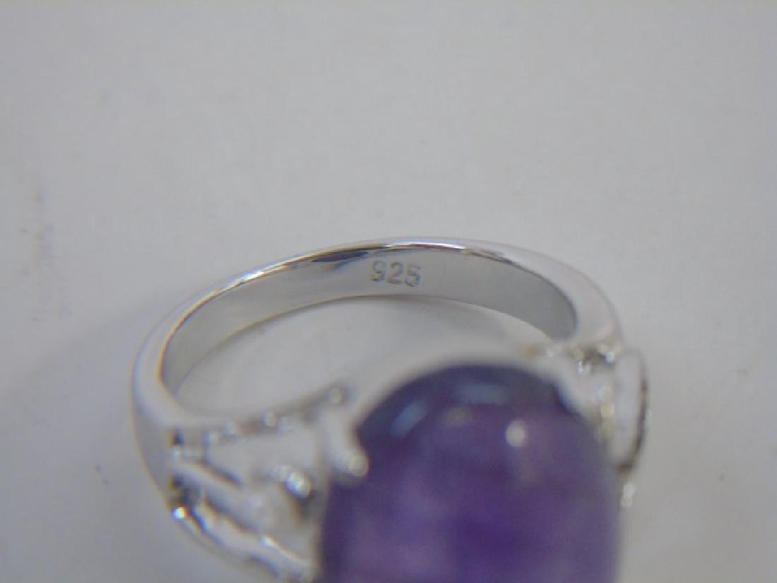 Sterling Silver & Cabochon Cut Amethyst Ring - 2