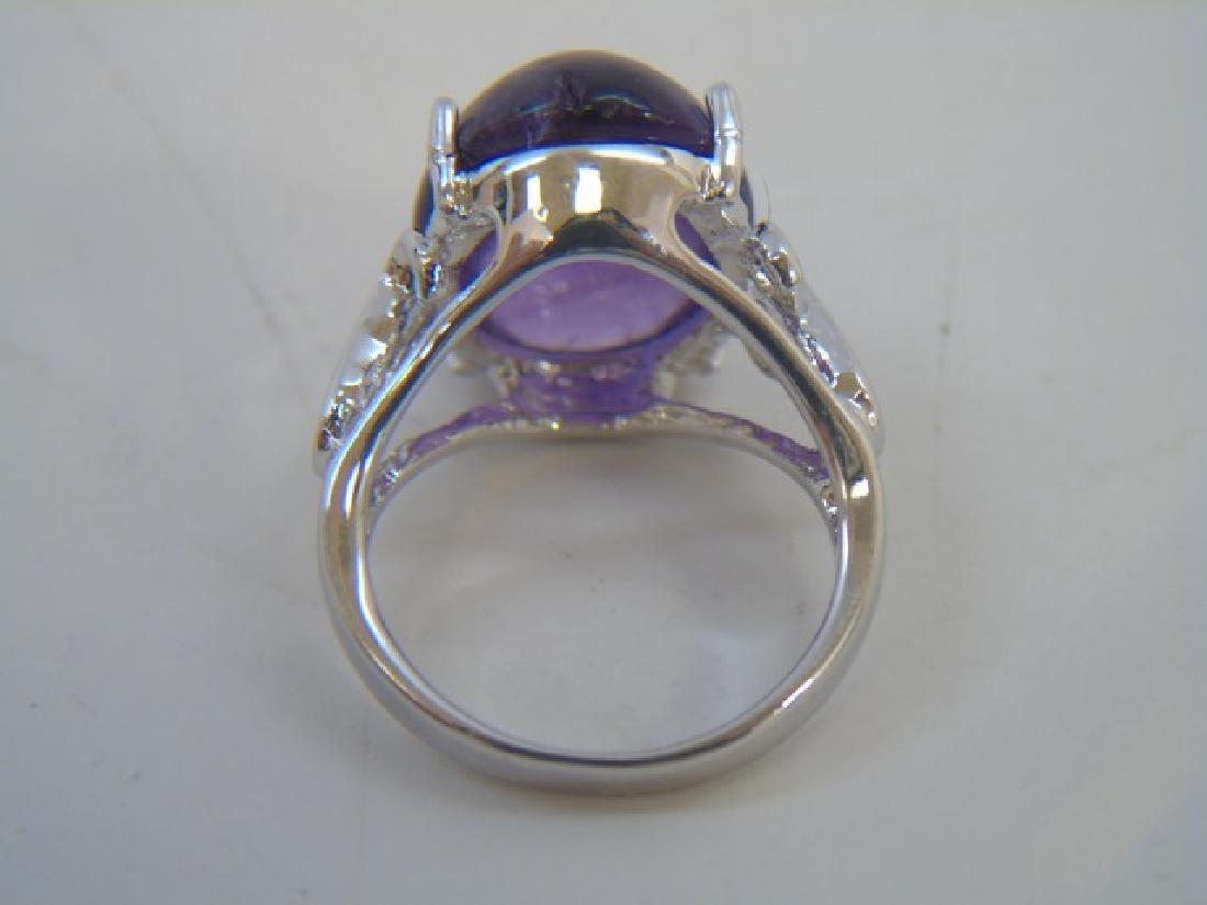 Sterling Silver & Cabochon Cut Amethyst Ring - 3