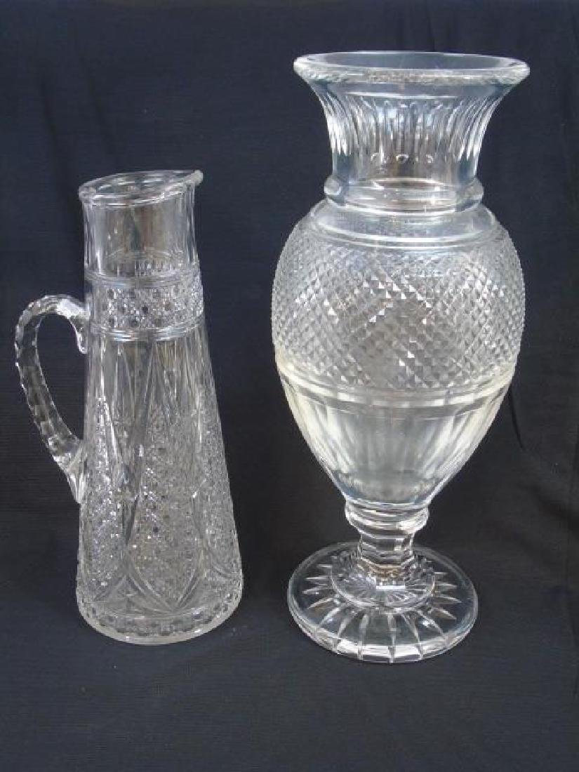 French Baccarat Decanter & Large Balustrade Vase