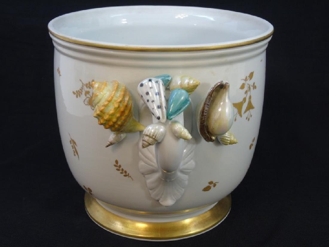 Sevres French Porcelain Shell Motif Cache Pot