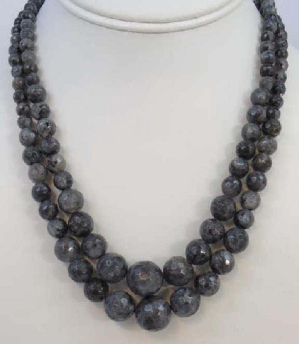 Pair Faceted Spinel Graduated Bead Necklaces