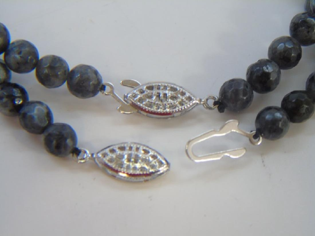 Pair Faceted Spinel Graduated Bead Necklaces - 2