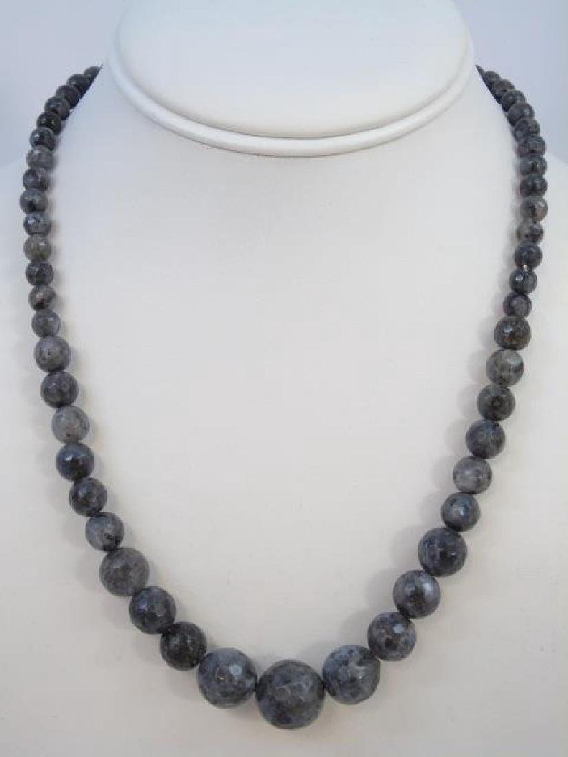 Pair Faceted Spinel Graduated Bead Necklaces - 3