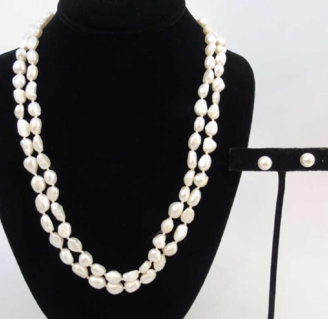 48 Inch Baroque White Pearl Strand & Stud Earrings