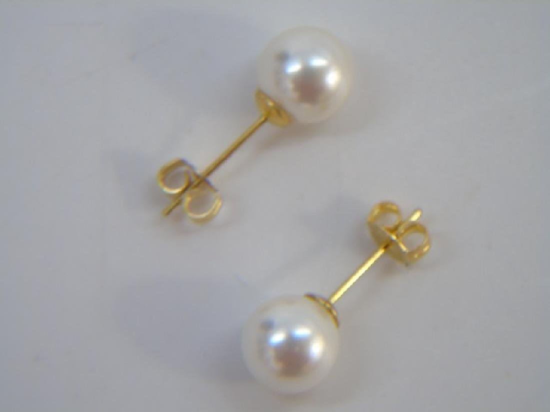 48 Inch Baroque White Pearl Strand & Stud Earrings - 2