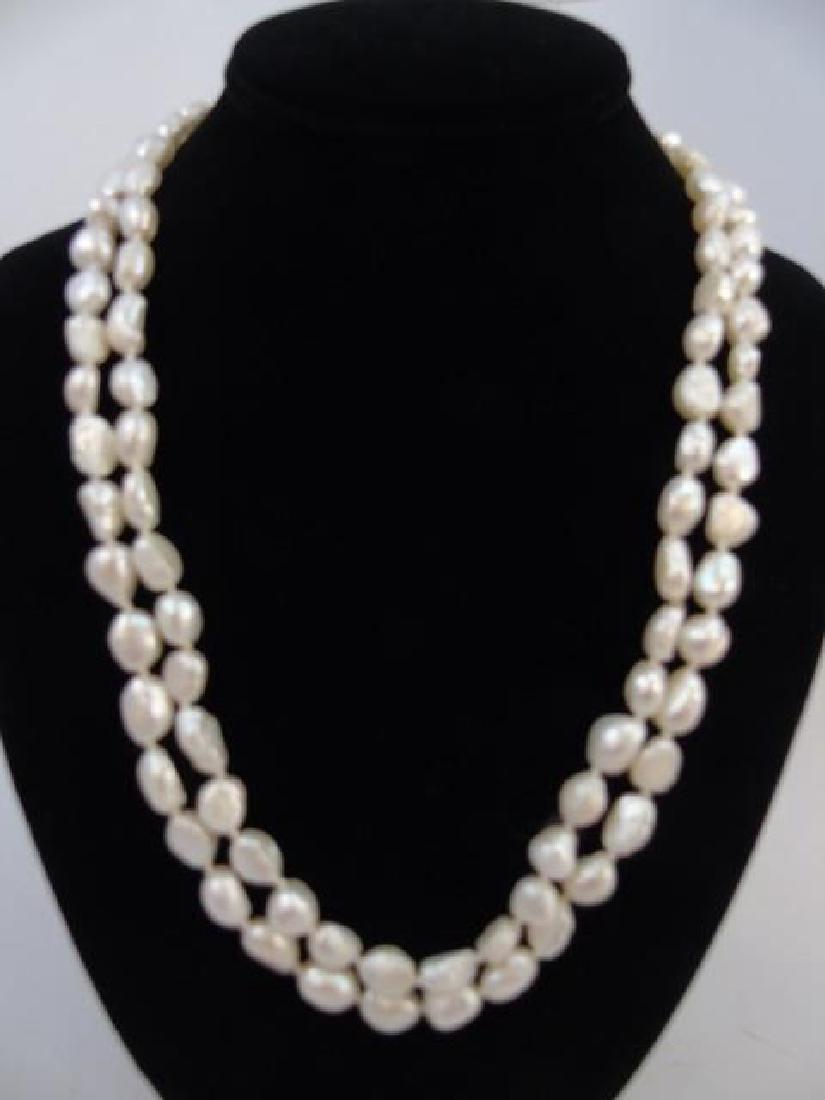 48 Inch Baroque White Pearl Strand & Stud Earrings - 3