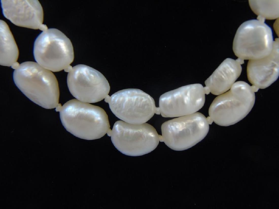 48 Inch Baroque White Pearl Strand & Stud Earrings - 4