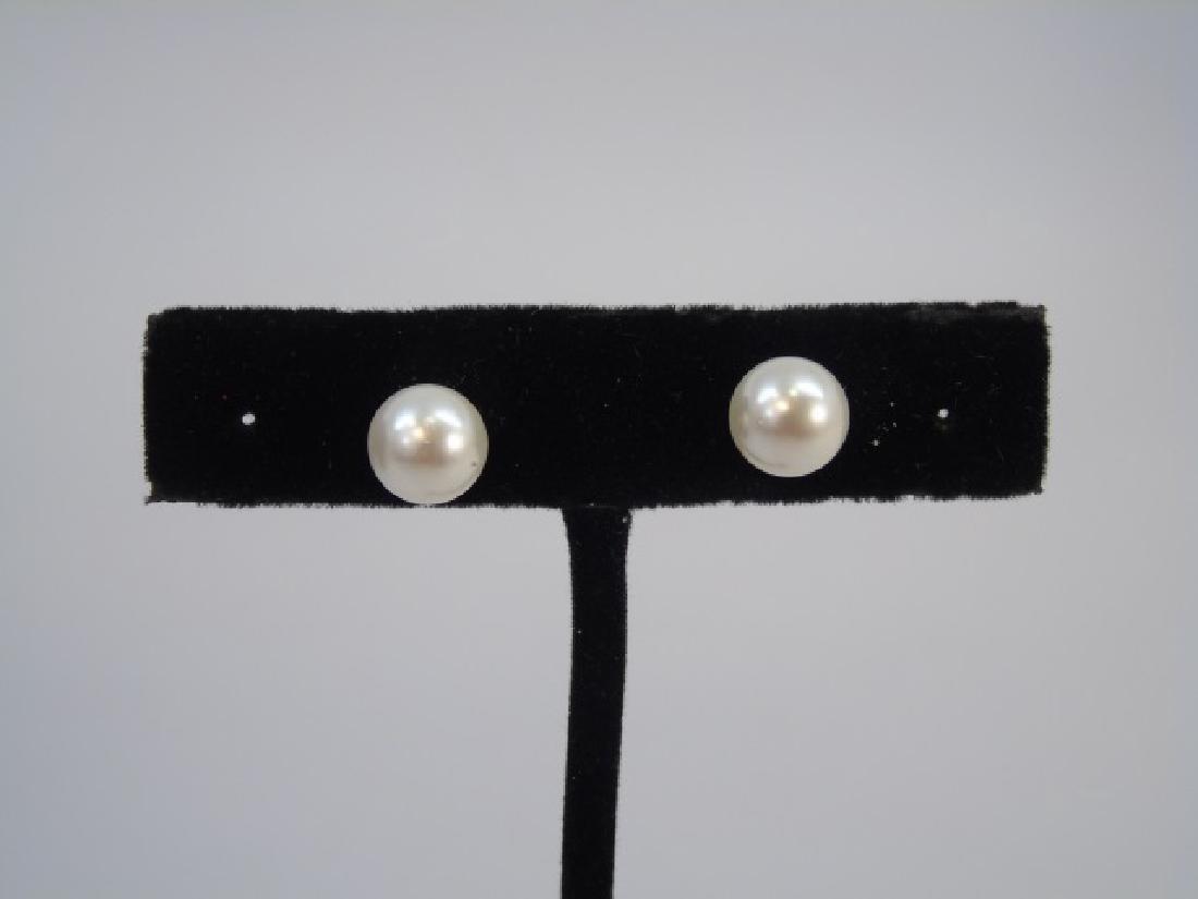 48 Inch Baroque White Pearl Strand & Stud Earrings - 5