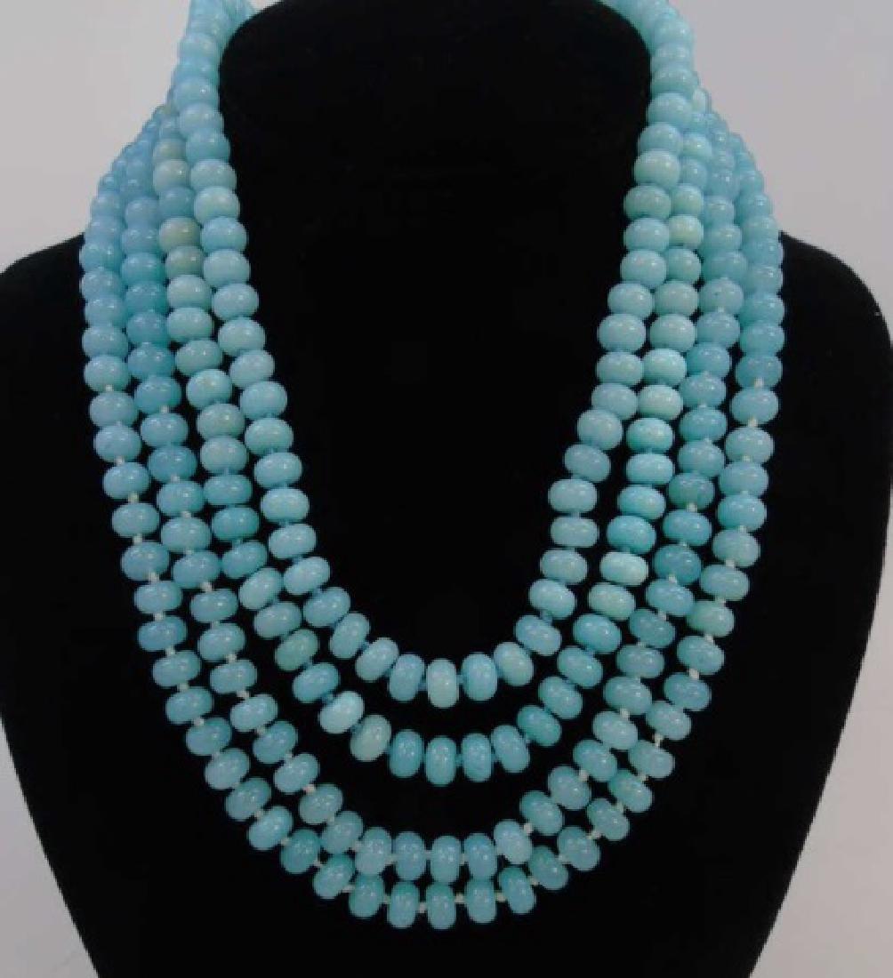 4 Light Blue Topaz Hand Knotted Necklace Strands
