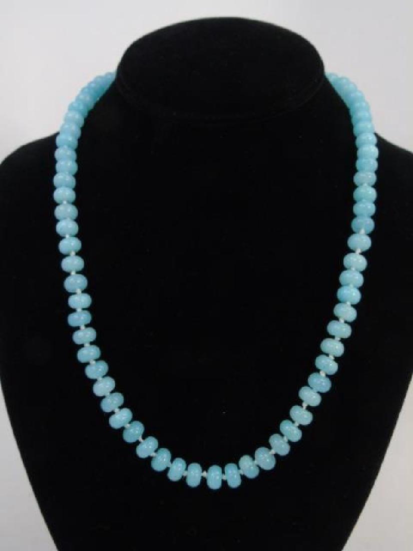 4 Light Blue Topaz Hand Knotted Necklace Strands - 3
