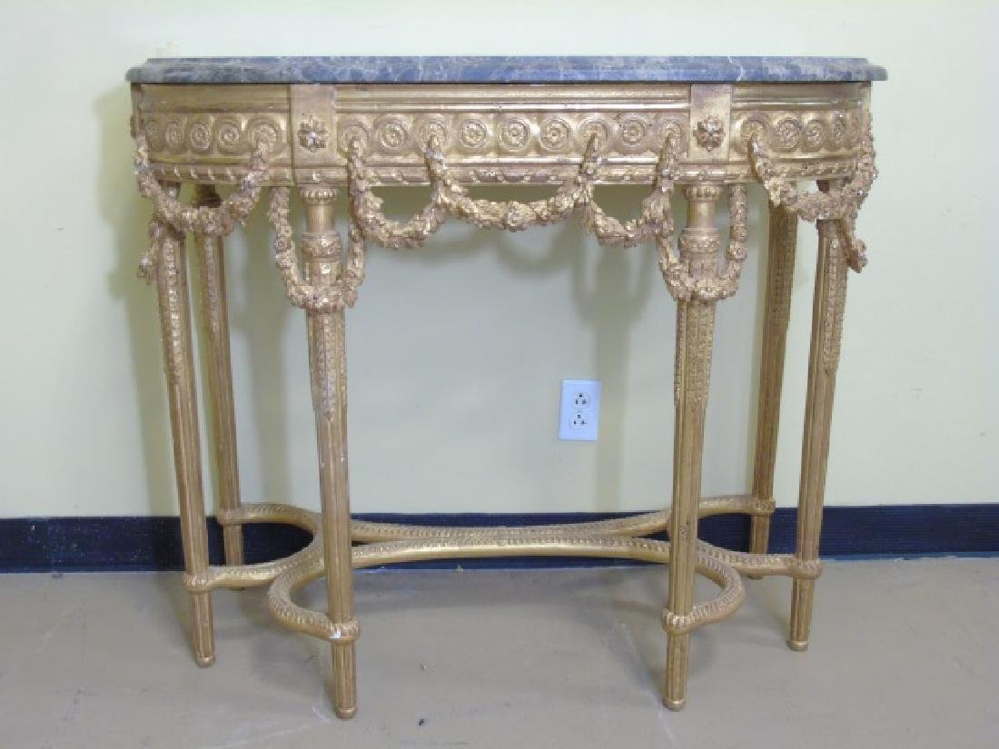 Louis XVI Style French Marble-Top Console Table - 2