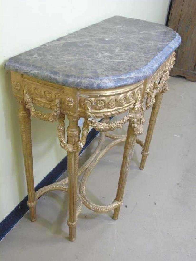 Louis XVI Style French Marble-Top Console Table - 5