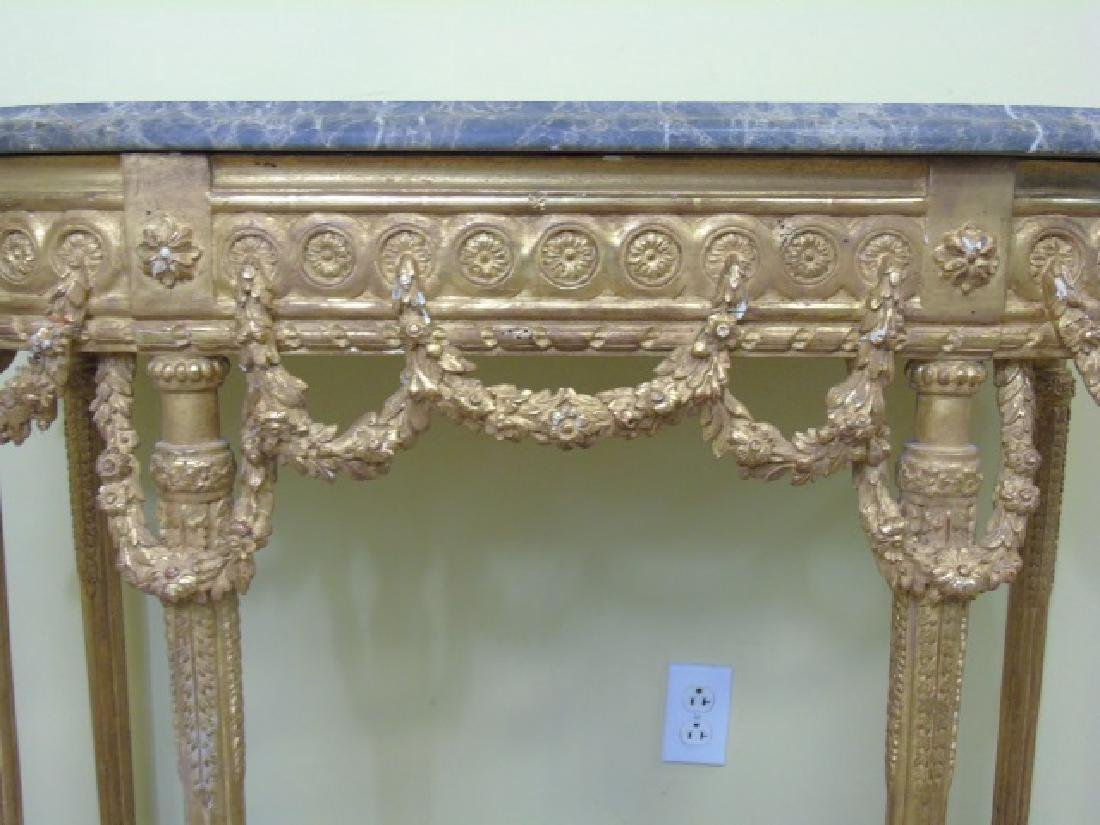 Louis XVI Style French Marble-Top Console Table - 7