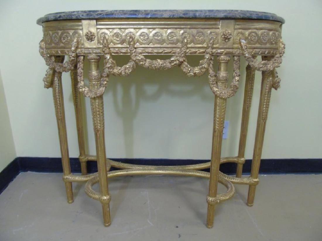 Louis XVI Style French Marble-Top Console Table