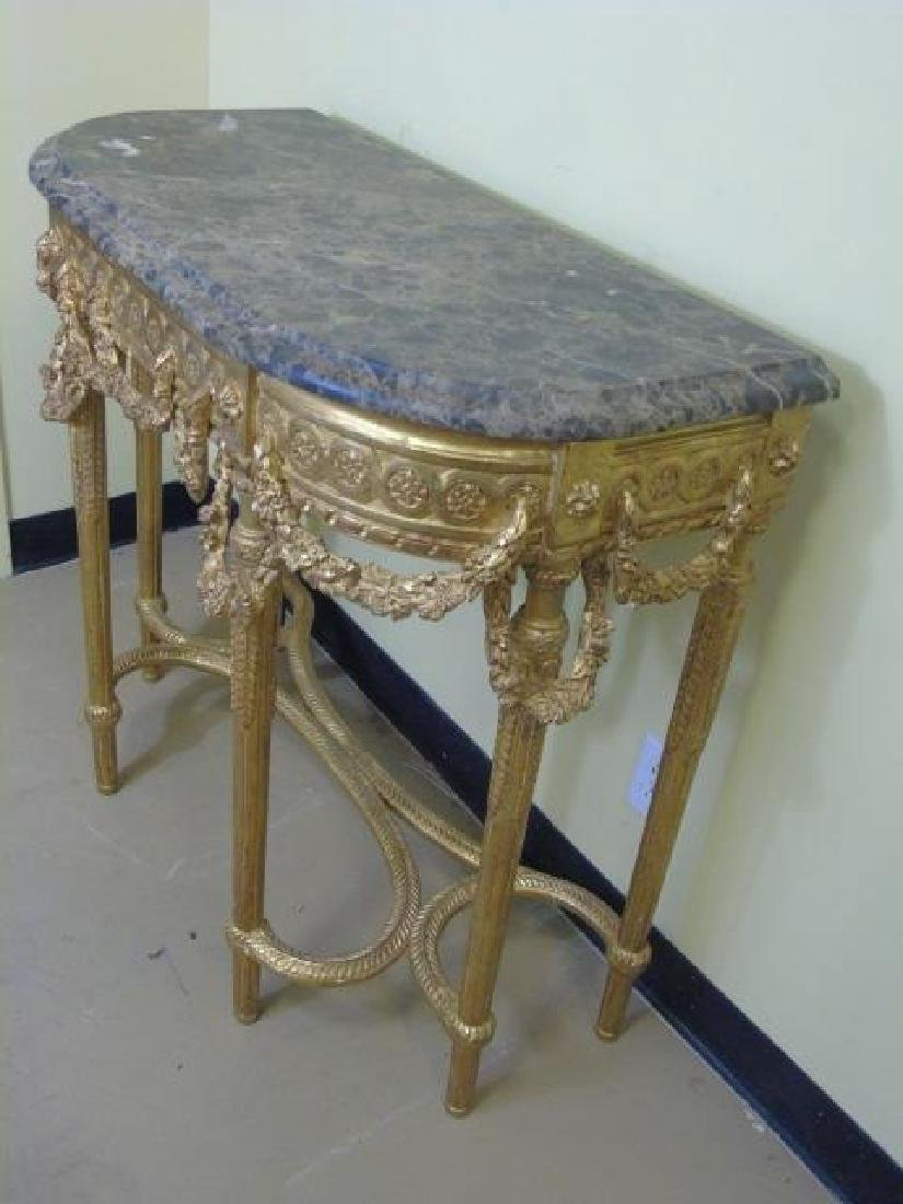 Louis XVI Style French Marble-Top Console Table - 3