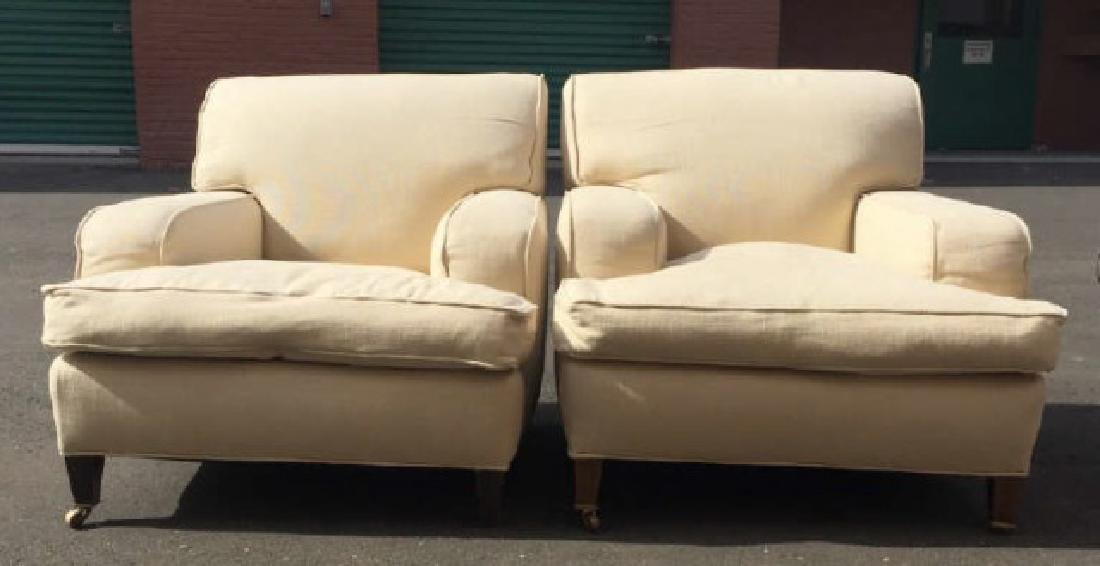 Pair Modern Custom Made & Upholstered Armchairs