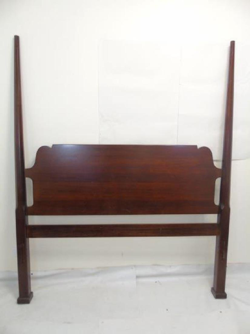 Carved Mahogany Tone Four Poster Bed - 3