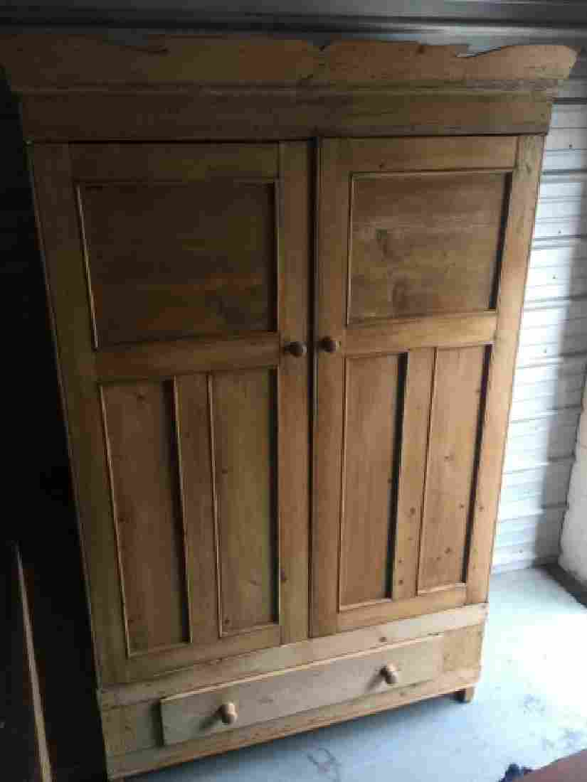 Antique Pine Paneled Double Door Armoire w Drawer