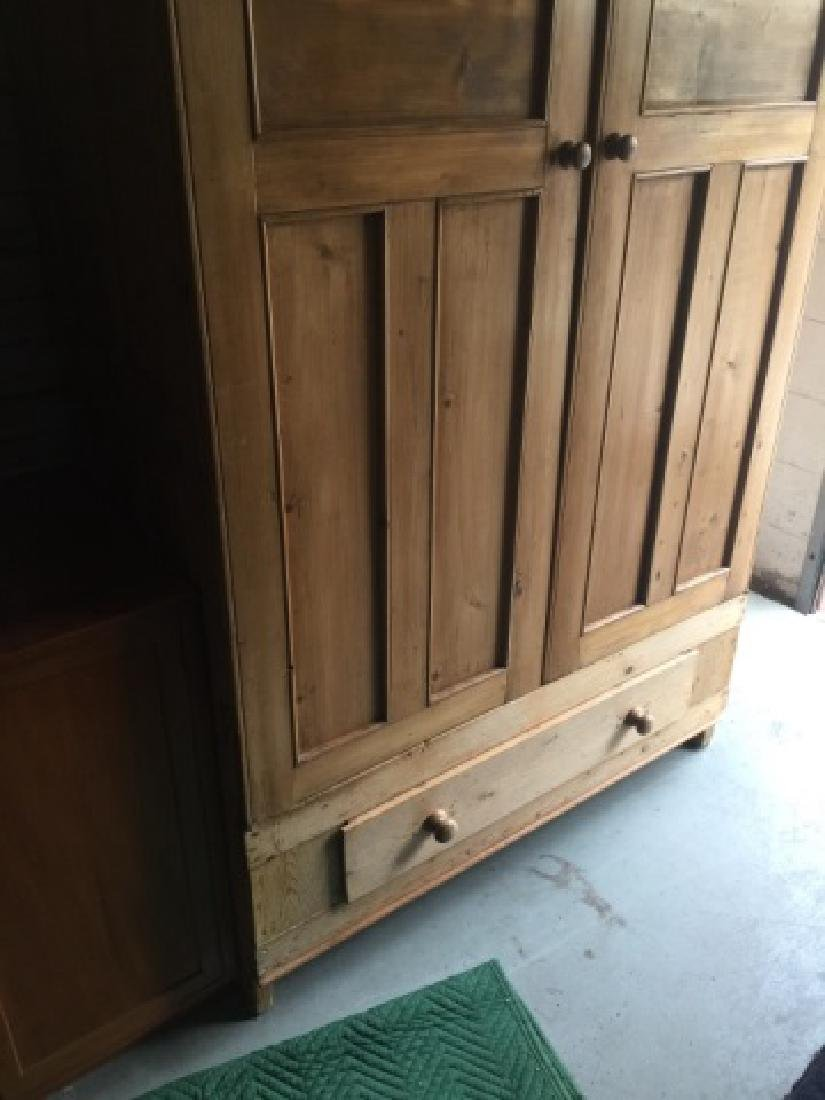 Antique Pine Paneled Double Door Armoire w Drawer - 3