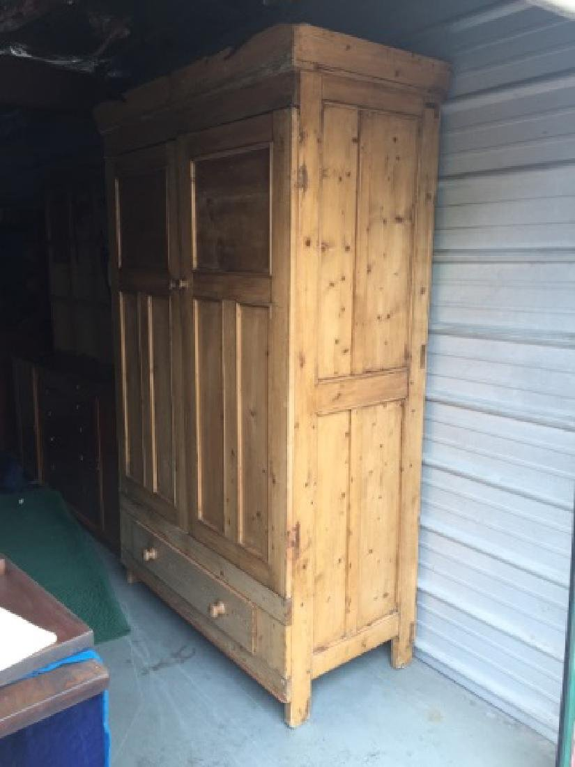 Antique Pine Paneled Double Door Armoire w Drawer - 4