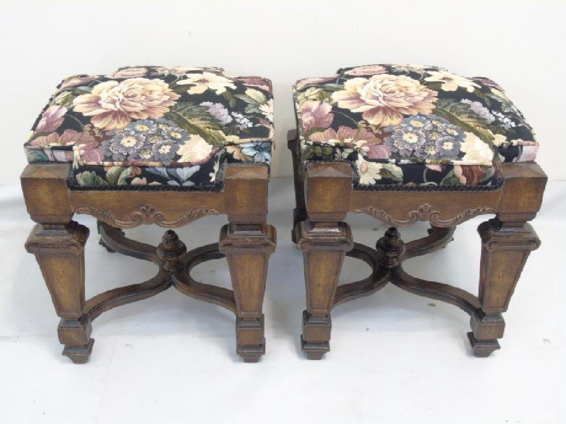 Pair Italian Baroque Style Upholstered Wood Stools