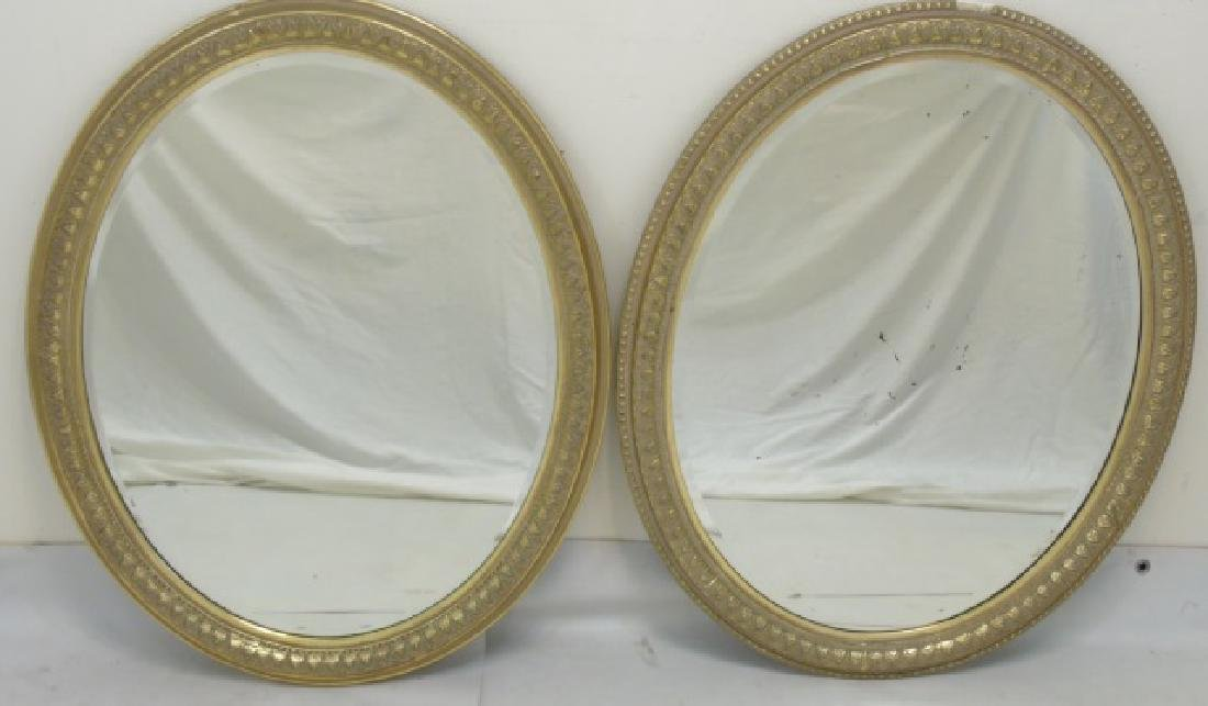 Pair of Antique Gold Leaf Frame Oval Mirrors
