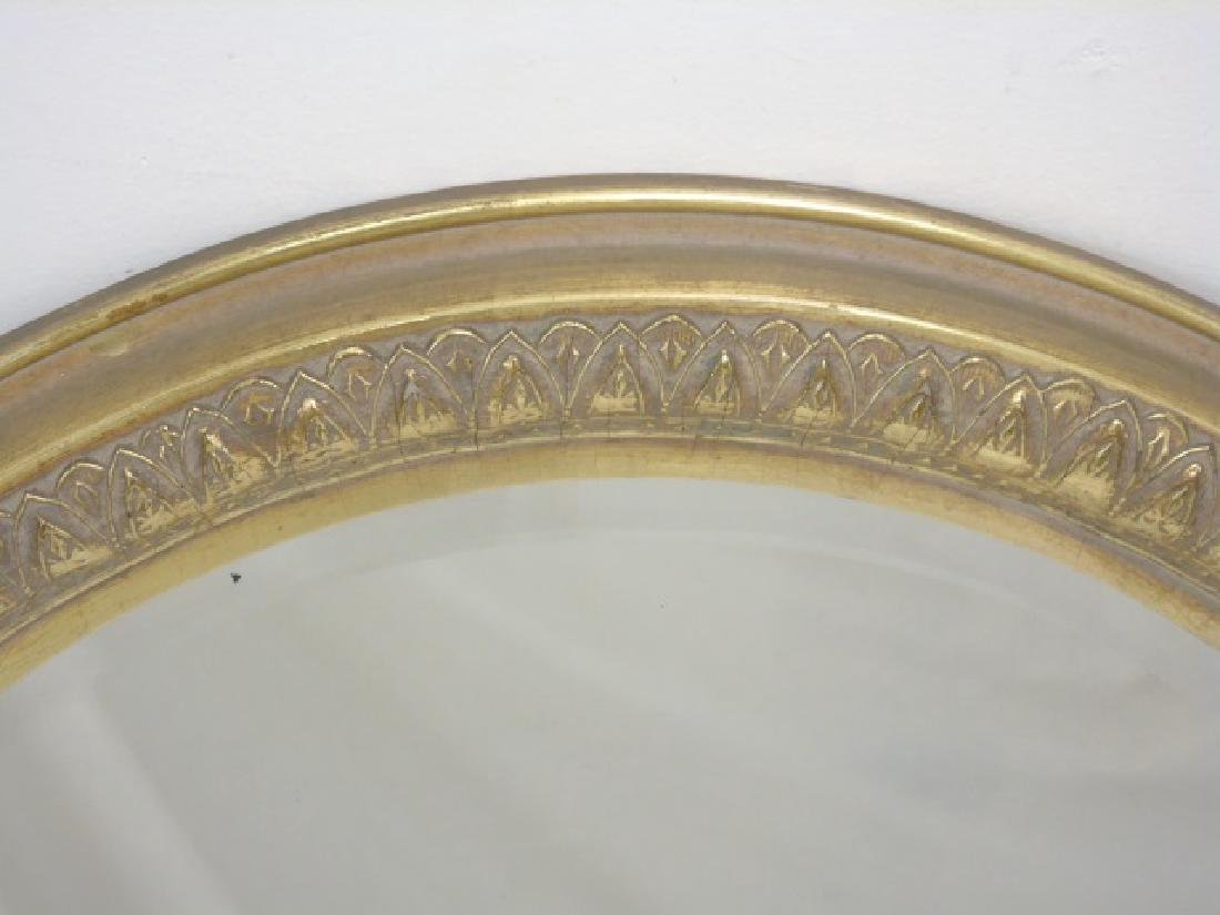 Pair of Antique Gold Leaf Frame Oval Mirrors - 2