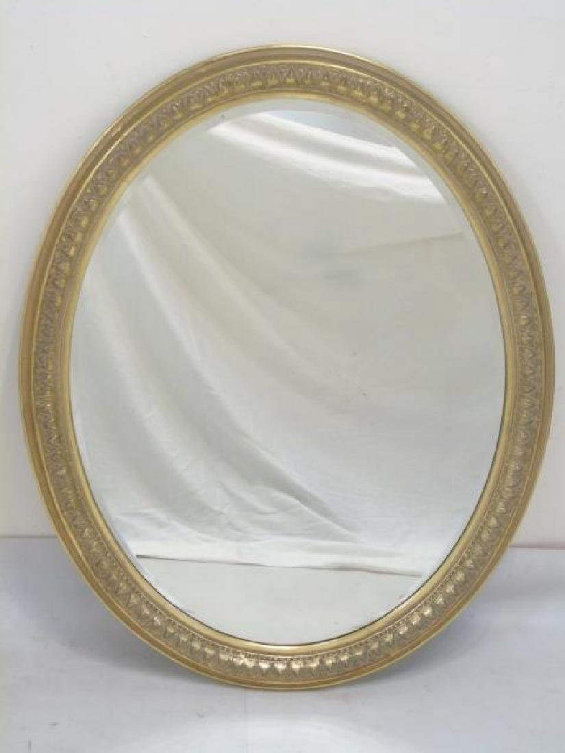 Pair of Antique Gold Leaf Frame Oval Mirrors - 3