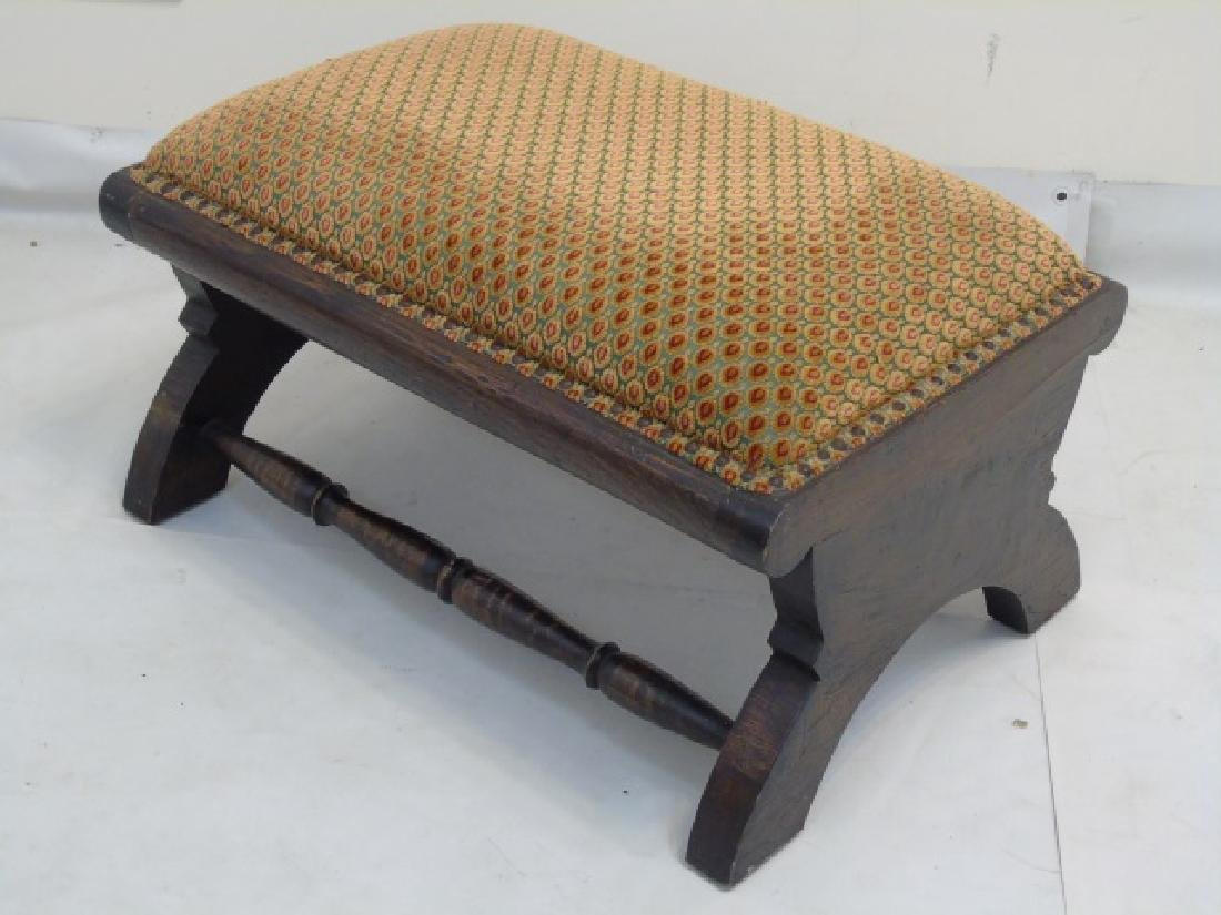 Christopher Hyland Fabric Upholstered Wood Ottoman - 3